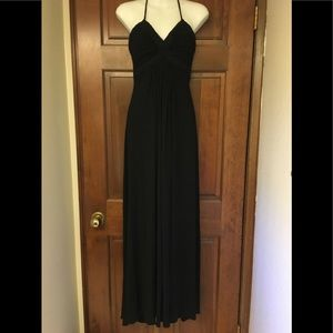 SKY Black Leather Halter Maxi Dress Size Small